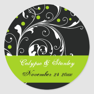 Scroll leaf black, green wedding Save the Date Classic Round Sticker