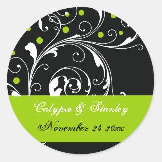Scroll leaf black, green wedding Save the Date Classic Round Sticker