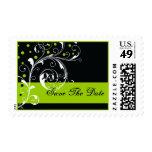 Scroll leaf black, green wedding Save the Date Stamp
