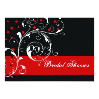 Scroll leaf black, red wedding bridal shower card
