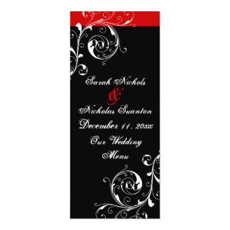 """Scroll leaf black, red wedding menu card 4"""" x 9.25"""" invitation card"""