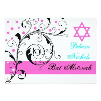 Scroll leaf black, white, hot pink & Star of David Personalized Invitation