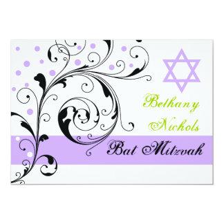 Scroll leaf black, white, purple & Star of David Card