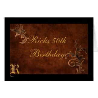 Scroll Leaf Personalized Birthday Greeting Card