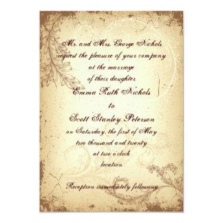 Scroll leaf vintage brown beige wedding invitation