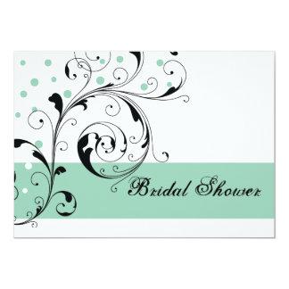 Scroll leaf white jade green wedding bridal shower card