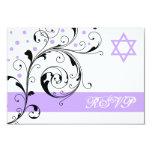Scroll leaf white purple & Star of David RSVP 3.5x5 Paper Invitation Card