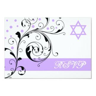 Scroll leaf white purple & Star of David RSVP Card