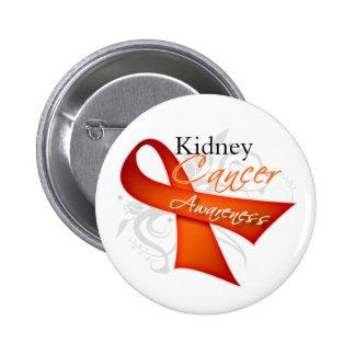 Scroll Orange Ribbon Kidney Cancer Awareness Pinback Button