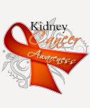 Scroll Orange Ribbon Kidney Cancer Awareness Tee Shirts
