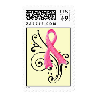 Scroll/Pink Ribbon Postage