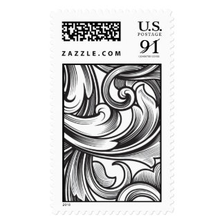Scroll plume flourish postage