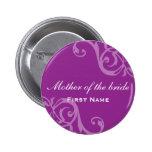Scroll purple wedding name tag badge pin button
