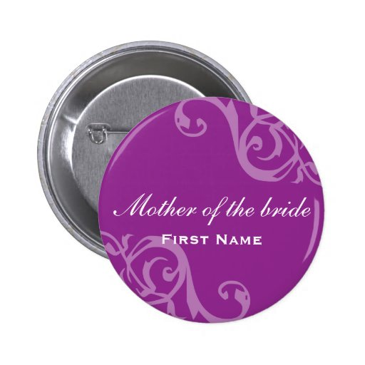 scroll purple wedding name tag badge pin button zazzle. Black Bedroom Furniture Sets. Home Design Ideas