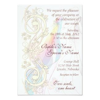 Scroll Rainbow Bride & Groom Wedding Invite-1 Card