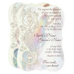 Scroll Rainbow Bride & Groom Wedding Invite-1C Card