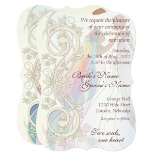 Scroll Rainbow Bride & Groom Wedding Invite-1C Invitation