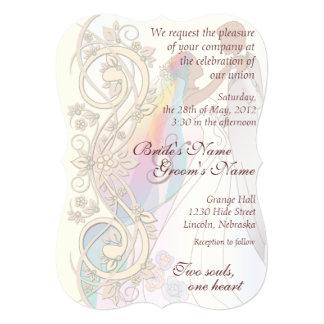 Scroll Rainbow Bride & Groom Wedding Invite-1C 5x7 Paper Invitation Card
