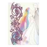 Scroll Rainbow Bride & Groom Wedding Invite-2