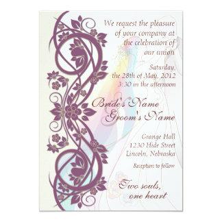 Scroll Rainbow Bride & Groom Wedding Invite-2 5x7 Paper Invitation Card