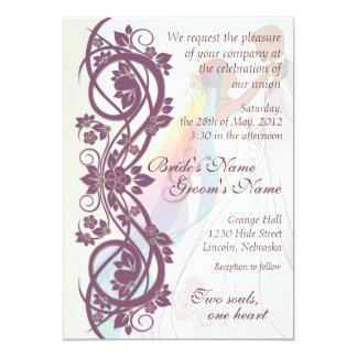 Scroll Rainbow Bride & Groom Wedding Invite-2B 5x7 Paper Invitation Card