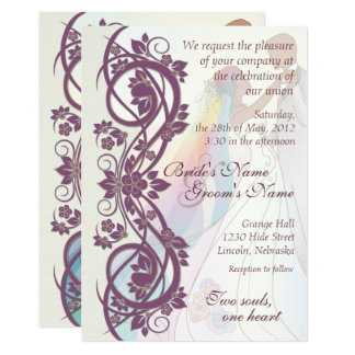 Scroll Rainbow Bride & Groom Wedding Invite-2B Card