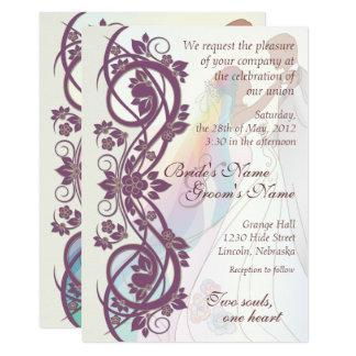 Scroll Rainbow Bride & Groom Wedding Invite-2B Invitation