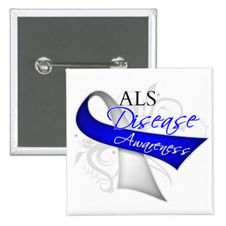Scroll Ribbon - ALS Disease Awareness 2 Inch Square Button