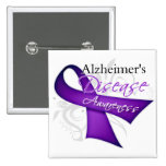 Scroll Ribbon - Alzheimer's Disease Awareness 2 Inch Square Button
