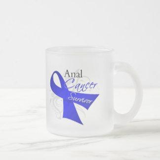 Scroll Ribbon - Anal Cancer Survivor 10 Oz Frosted Glass Coffee Mug