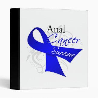 Scroll Ribbon - Anal Cancer Survivor 3 Ring Binders