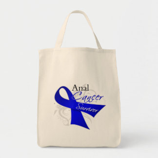 Scroll Ribbon - Anal Cancer Survivor Grocery Tote Bag