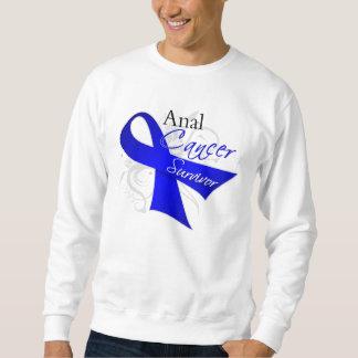 Scroll Ribbon - Anal Cancer Survivor Pull Over Sweatshirts