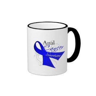 Scroll Ribbon - Anal Cancer Survivor Ringer Coffee Mug