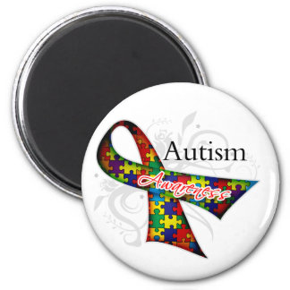 Scroll Ribbon - Autism Awareness 2 Inch Round Magnet