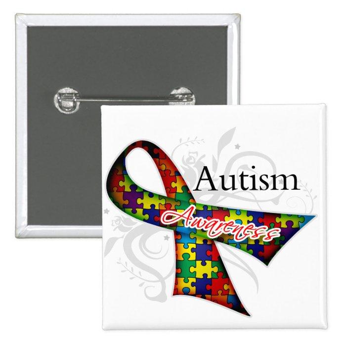 Scroll Ribbon   Autism Awareness Pinback Button