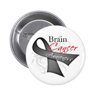 Scroll Ribbon Brain Cancer Awareness 2 Inch Round Button