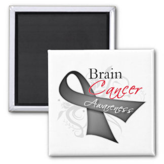 Scroll Ribbon Brain Cancer Awareness 2 Inch Square Magnet