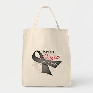 Scroll Ribbon Brain Cancer Awareness Grocery Tote Bag