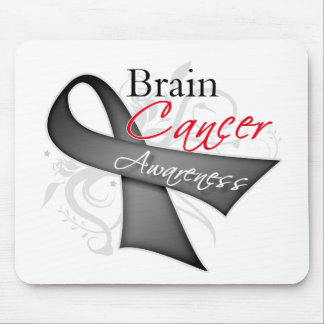 Scroll Ribbon Brain Cancer Awareness Mouse Pad
