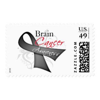 Scroll Ribbon Brain Cancer Awareness Postage