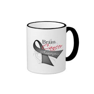 Scroll Ribbon Brain Cancer Awareness Ringer Coffee Mug