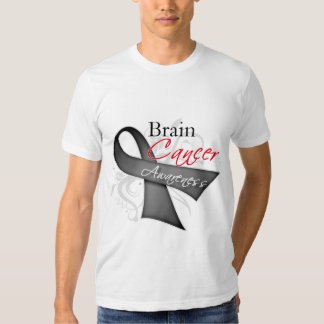 Scroll Ribbon Brain Cancer Awareness T Shirts