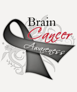 Scroll Ribbon Brain Cancer Awareness Tees