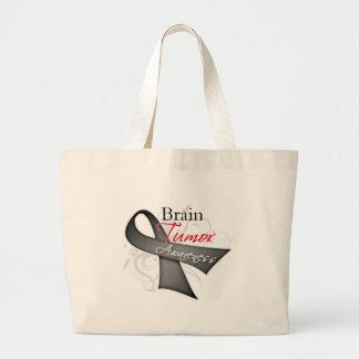 Scroll Ribbon - Brain Tumor Awareness Large Tote Bag