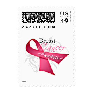 Scroll Ribbon Breast Cancer Awareness Postage Stamps