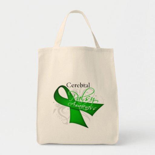 Scroll Ribbon - Cerebral Palsy Awareness Grocery Tote Bag