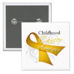 Scroll Ribbon Childhood Cancer Awareness Button