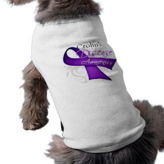 Scroll Ribbon - Crohn's Disease Awareness Dog T Shirt
