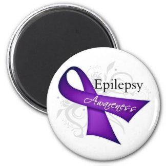 Scroll Ribbon - Epilepsy Awareness 2 Inch Round Magnet